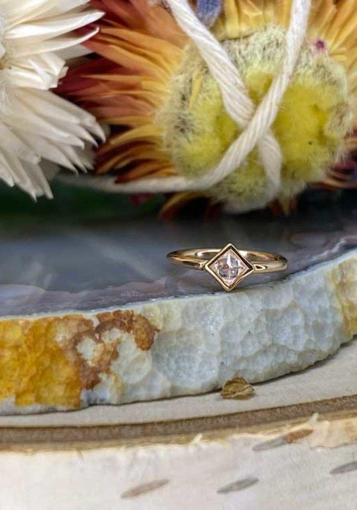 "Buddha Jewelry Organics Mae Rose Gold with Reverse-Set White CZ 18g 5/16"" Seam Ring"