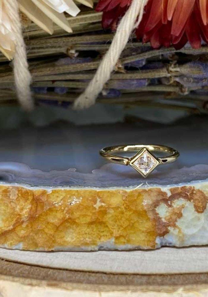 "Buddha Jewelry Organics Mae Yellow Gold with Reverse-Set White CZ 18g 5/16"" Seam Ring"