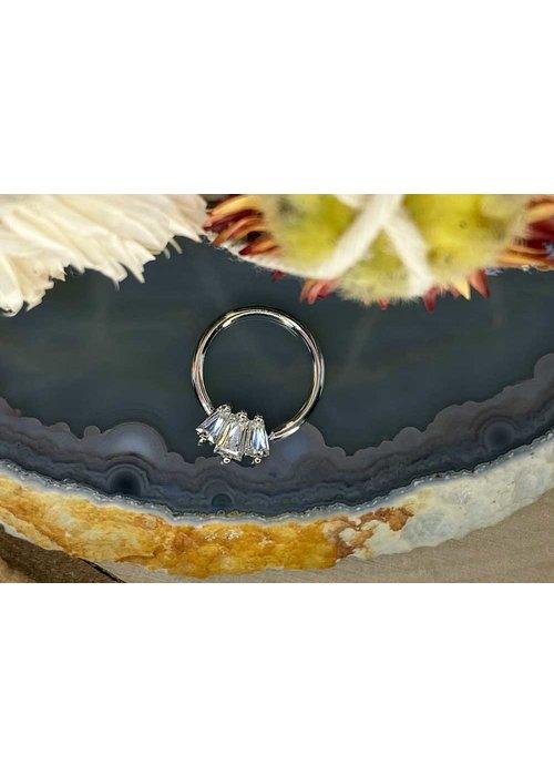 "Buddha Jewelry Organics Buddha Jewelry Organics Gemma Trios White Gold with White CZ 16g 3/8"" Seam Ring"