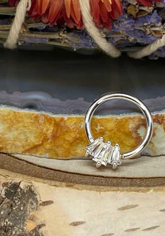 "Buddha Jewelry Organics Gemma Trios White Gold with White CZ 16g 3/8"" Seam Ring"