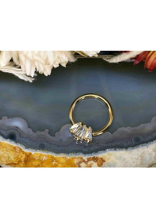 "Buddha Jewelry Organics Buddha Jewelry Organics Gemma Trios Yellow Gold with White CZ 16g 3/8"" Seam Ring"