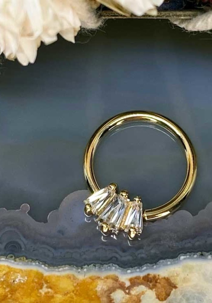 "Buddha Jewelry Organics Gemma Trios Yellow Gold with White CZ 16g 3/8"" Seam Ring"