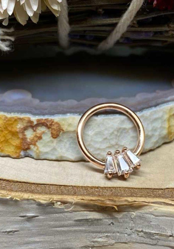 "Buddha Jewelry Organics Gemma Trios Rose Gold with White CZ 16g 3/8"" Seam Ring"
