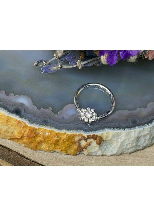 "Buddha Jewelry Organics Buddha Jewelry Organics Eloise White Gold with White CZ 16g 3/8"" Seam Ring"