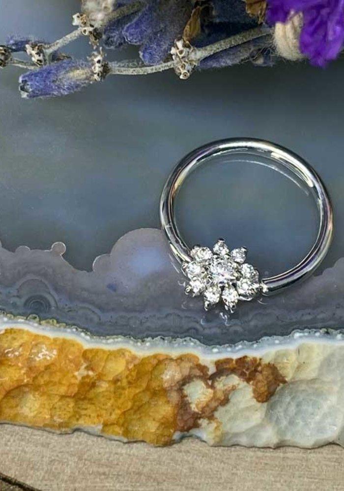 """Buddha Jewelry Organics Eloise White Gold with White CZ 16g 3/8"""" Seam Ring"""