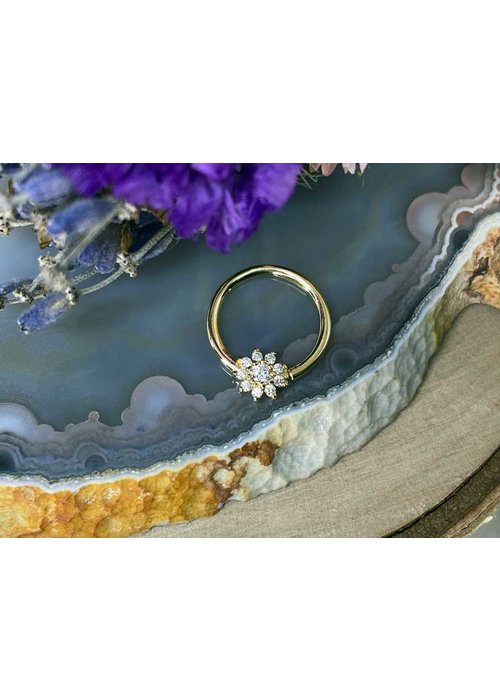 """Buddha Jewelry Organics Buddha Jewelry Organics Eloise Yellow Gold with White CZ 16g 3/8"""" Seam Ring"""