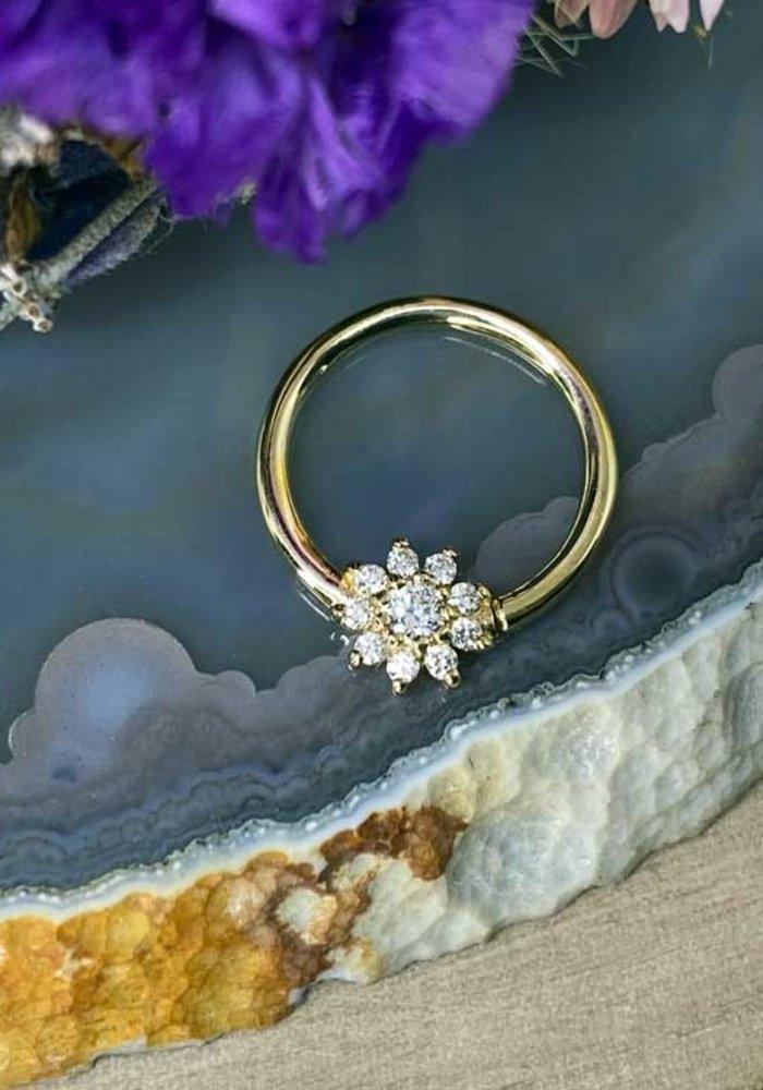 "Buddha Jewelry Organics Eloise Yellow Gold with White CZ 16g 3/8"" Seam Ring"