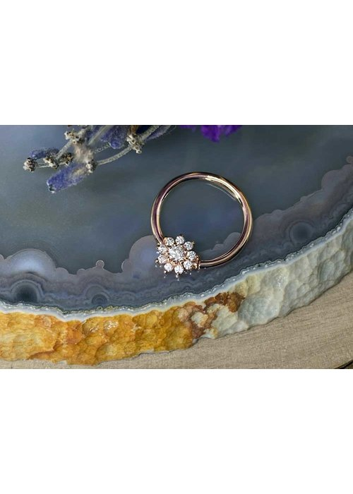"""Buddha Jewelry Organics Buddha Jewelry Organics Eloise Rose Gold with White CZ 16g 3/8"""" Seam Ring"""
