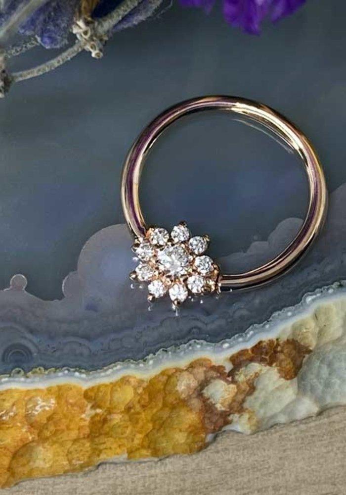 "Buddha Jewelry Organics Eloise Rose Gold with White CZ 16g 3/8"" Seam Ring"