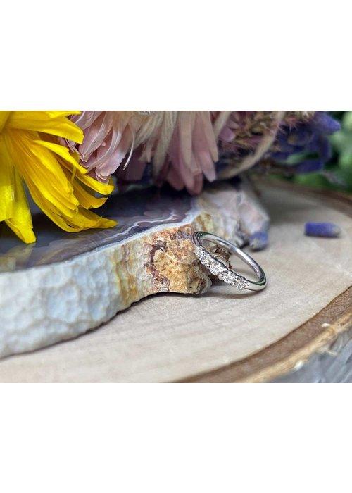 "Buddha Jewelry Organics Buddha Jewelry Organics Brigitte White Gold with White CZ 18g 5/16"" Seam Ring"