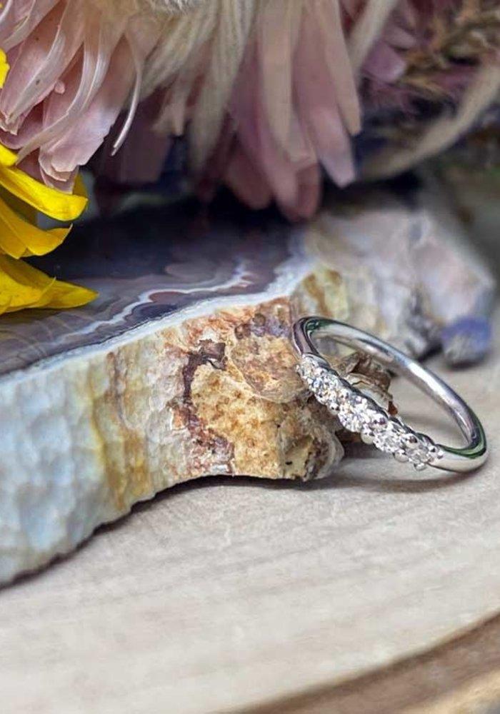 """Buddha Jewelry Organics Brigitte White Gold with White CZ 18g 5/16"""" Seam Ring"""