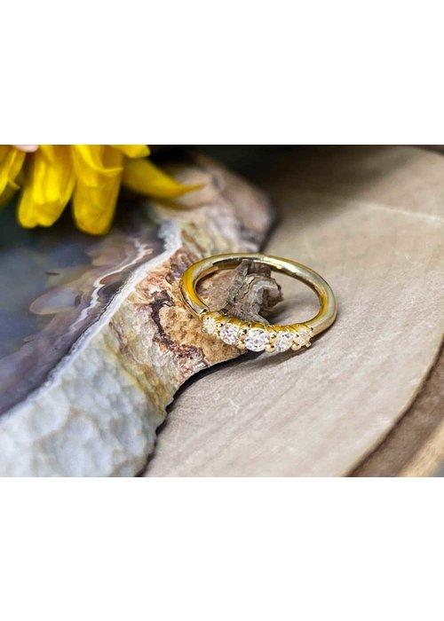 "Buddha Jewelry Organics Buddha Jewelry Organics Brigitte Yellow Gold with White CZ 18g 5/16"" Seam Ring"