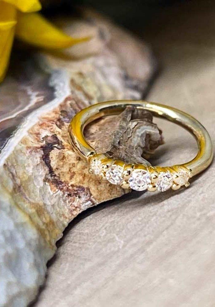 """Buddha Jewelry Organics Brigitte Yellow Gold with White CZ 18g 5/16"""" Seam Ring"""