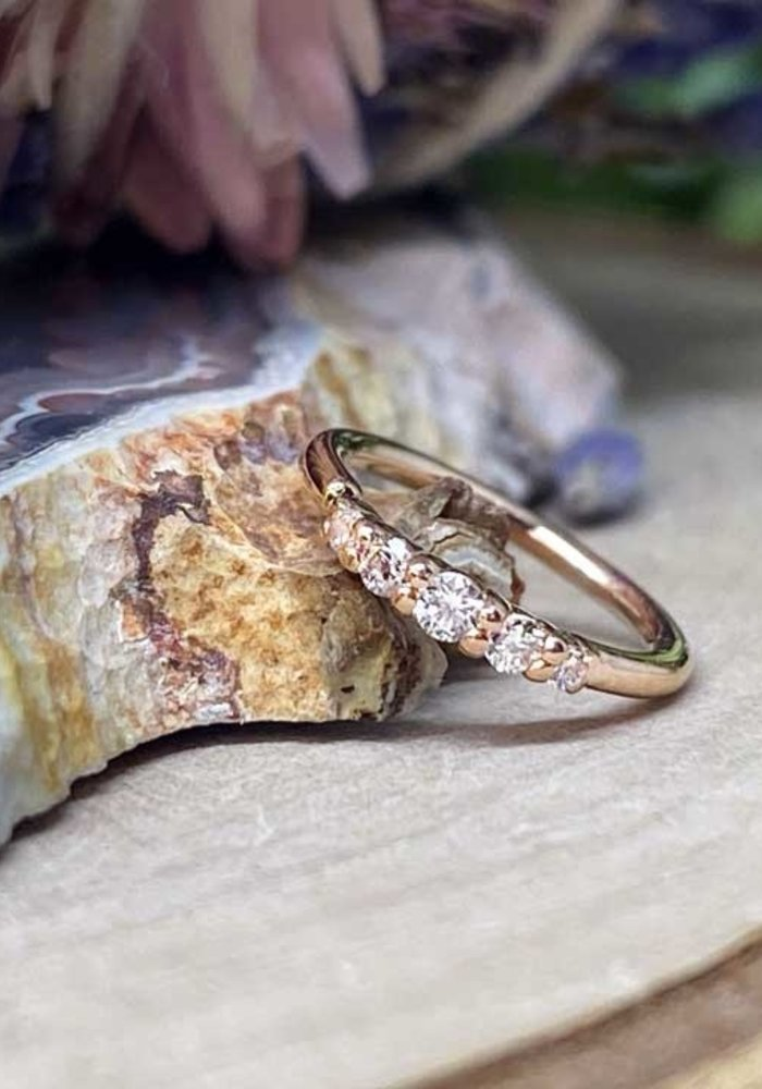 """Buddha Jewelry Organics Brigitte Rose Gold with White CZ 18g 5/16"""" Seam Ring"""