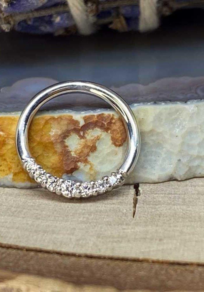 """Buddha Jewelry Organics Audrey White Gold with White CZ 16g 3/8"""" Seam Ring"""