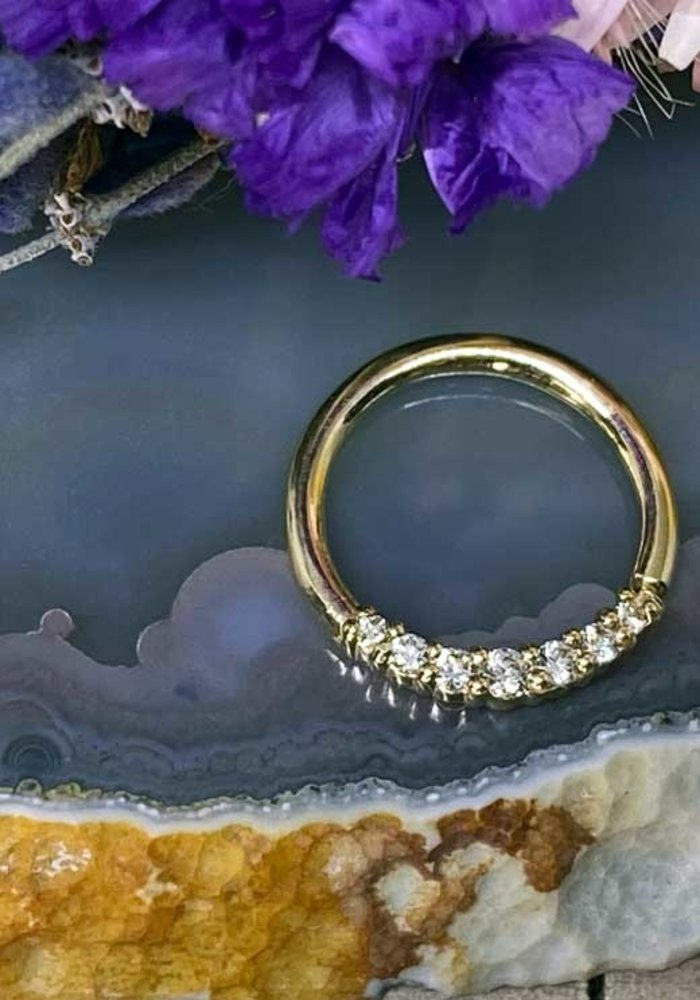"Buddha Jewelry Organics Audrey Yellow Gold with White CZ 16g 3/8"" Seam Ring"