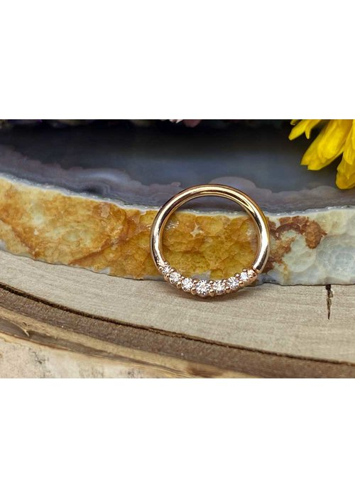 """Buddha Jewelry Organics Buddha Jewelry Organics Audrey Rose Gold with White CZ 16g 3/8"""" Seam Ring"""