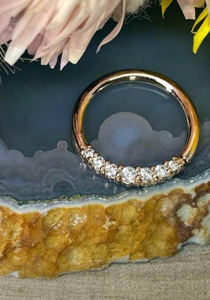 "Buddha Jewelry Organics Audrey Rose Gold with White CZ 16g 3/8"" Seam Ring"