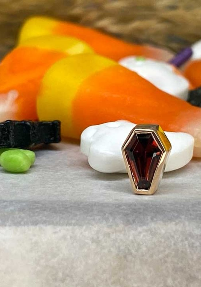 BVLA Coffin Bezel 14K Rose Gold Genuine Garnet 7mm x 5mm 14g Threaded