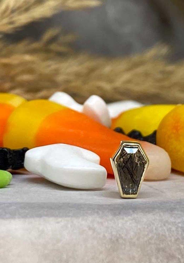 BVLA Coffin Bezel 14K Yellow Gold Genuine Tourmalinated Quartz 7mm x 5mm 14g Threaded