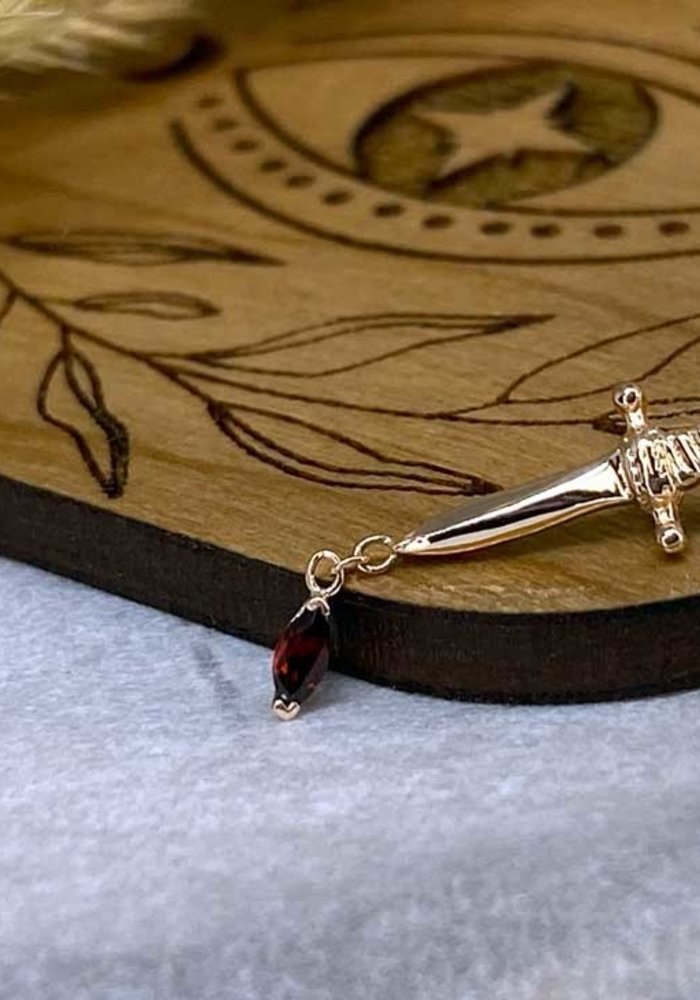 BVLA Kiss of Death Dagger 14K Rose Gold With Marquise Prong Genuine AA Garnet Dangle on Chain 14g Threaded