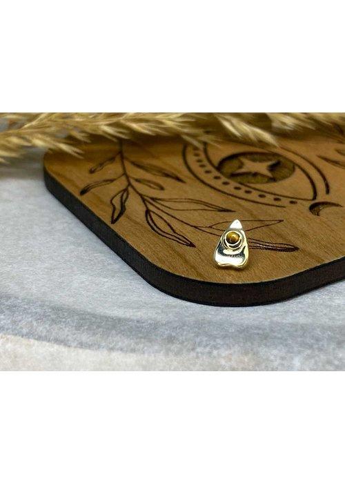 BVLA BVLA Summon the Spirit Ouija Planchette 14K Yellow Gold Genuine Tigers Eye 6mm x 4mm 14g Threaded