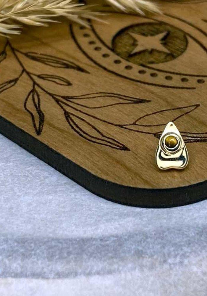 BVLA Summon the Spirit Ouija Planchette 14K Yellow Gold Genuine Tigers Eye 6mm x 4mm 14g Threaded