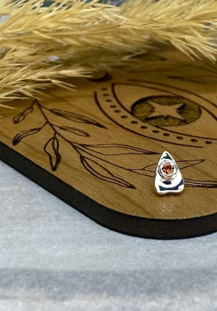 BVLA Summon the Spirit Ouija Planchette 14K White Gold Genuine Anastasia Topaz 6mm x 4mm 14g Threaded