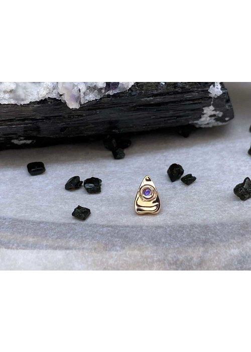 BVLA BVLA Summon the Spirit Ouija Planchette 14K Rose Gold Genuine Rainbow Moonstone 6mm x 4mm 14g Threaded