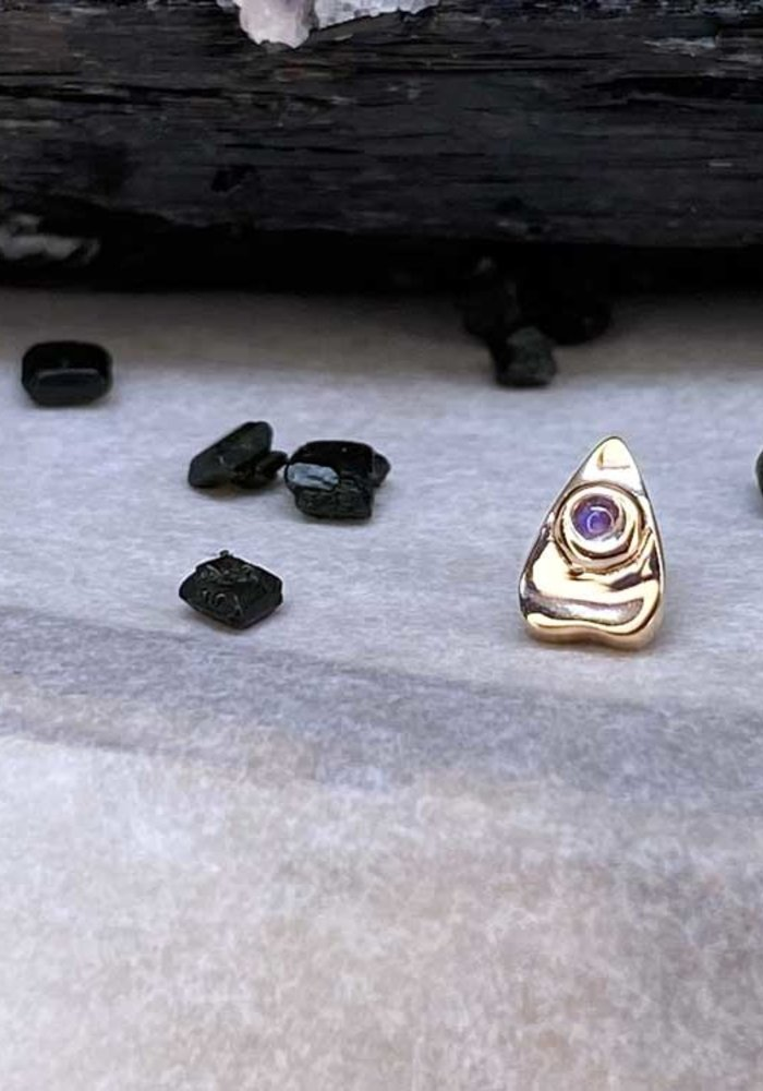 BVLA Summon the Spirit Ouija Planchette 14K Rose Gold Genuine Rainbow Moonstone 6mm x 4mm 14g Threaded