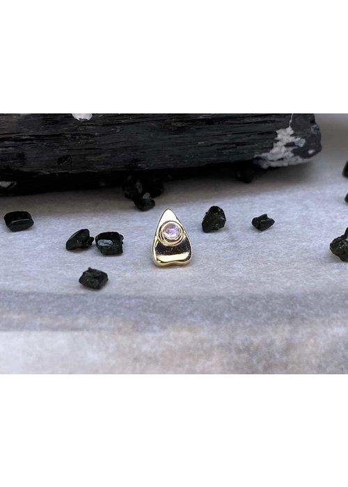 BVLA BVLA Summon the Spirit Ouija Planchette 14K Yellow Gold Genuine Rainbow Moonstone 6mm x 4mm 14g Threaded