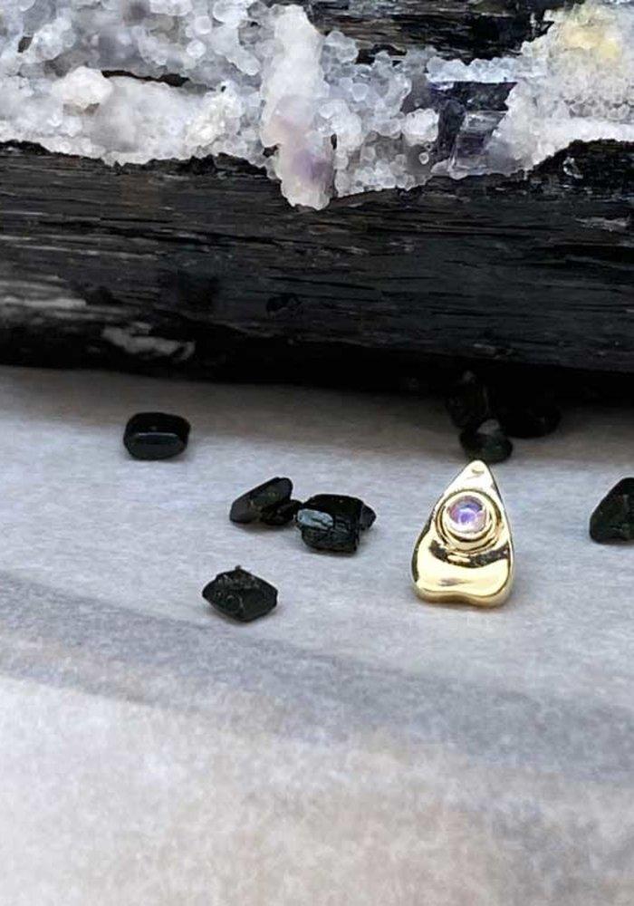BVLA Summon the Spirit Ouija Planchette 14K Yellow Gold Genuine Rainbow Moonstone 6mm x 4mm 14g Threaded