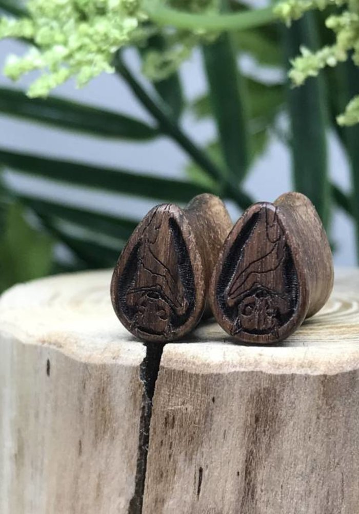 Omerica Organics Bat Etched/Graphic Tear Drop Double Flared Plug