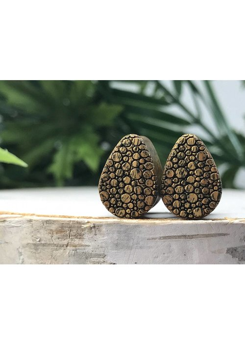 Omerica Omerica Organics Pebble Pattern Etched/Graphic Tear Drop Double Flared Plug