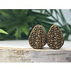 Omerica Omerica Organics Etched/Graphic Double Flared Plug Tear Drop in Pebble Pattern