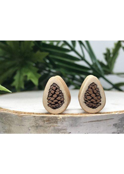 Omerica Omerica Organics Pinecone Inlay Double Flared Plug Tear Drop