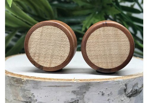 Omerica Omerica Organics Bloodwood & Curly Maple Basic Inlay Double Flared Plug