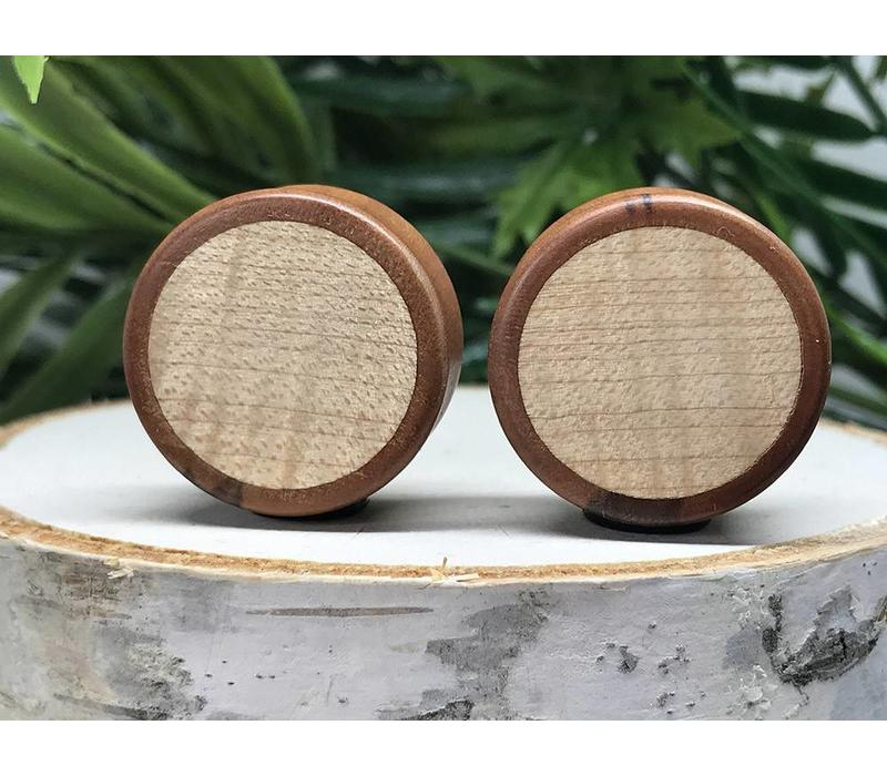 Omerica Organics Bloodwood & Curly Maple Basic Inlay Double Flared Plug