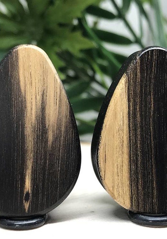 Omerica Organics Tiger Ebony Basic Double Flared Plug Tear Drop
