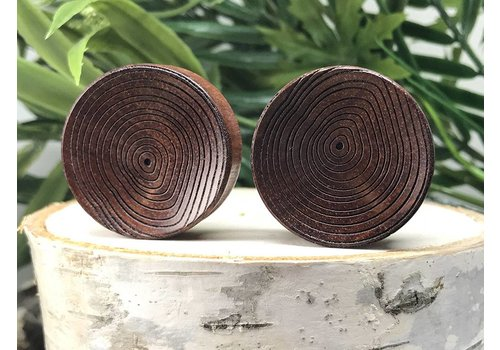 Omerica Omerica Organics Concave Growth Rings Etched/Graphic Double Flared Plug