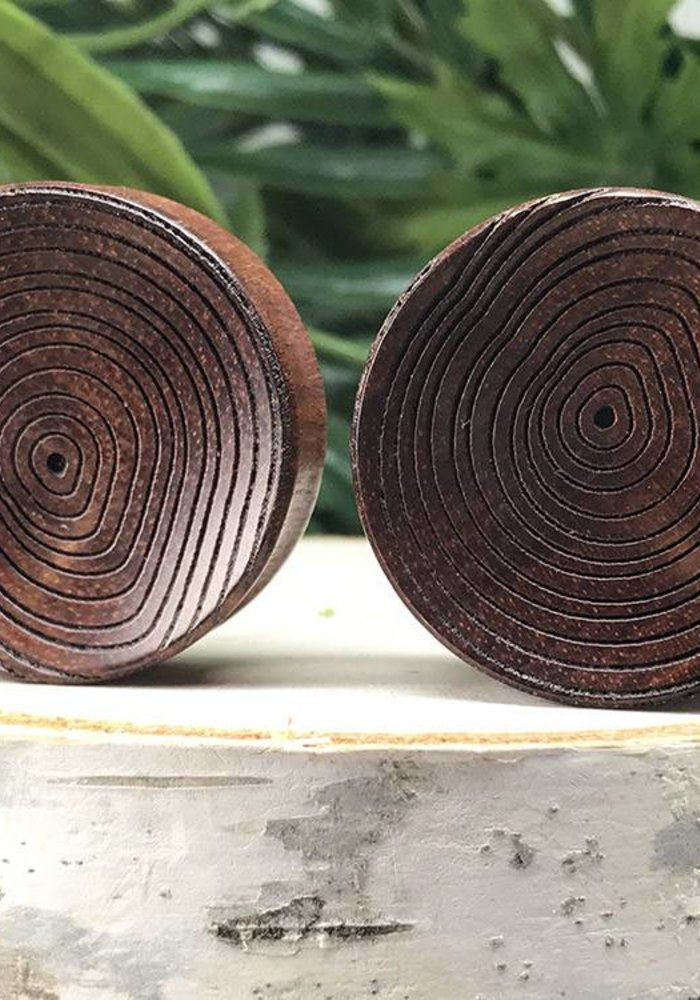 Omerica Organics Concave Growth Rings Etched/Graphic Double Flared Plug