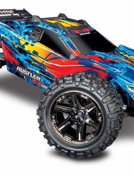 Traxxas 67076-4-fd  RUSTLER 4X4 VXL - RED, YELLOW