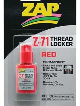 PAA ZAP Z-71 Red Thread Lock, .20 oz