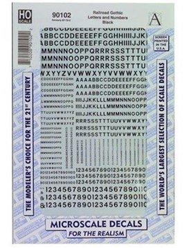 MSI MSI90102  HO Letters & Numbers, Gothic/Black