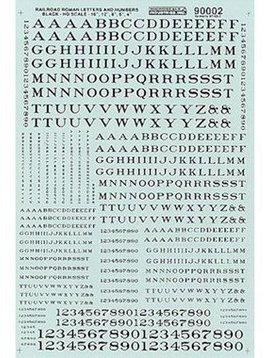 MSI MSI90002 HO Letters & Numbers, Roman/Black