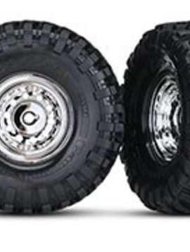 "Traxxas TRA8177  1.9"" chrome wheels, Canyon Trail 1.9 tires (2)/ center caps (2)/ decal sheet (requires #8255A extended stub axle)"