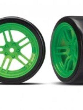 Traxxas TRA8376G Tires & Wheels, Assembled, glued (split spoke green wheels 1.9'' drift tires) Front
