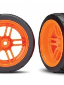Traxxas 8374A Tires and wheels, assembled, glued (split-spoke orange wheels, 1.9' Response tires) (extra wide, rear) (2) (VXL rated)
