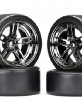 "Traxxas TRA8378 Tires and wheels, assembled, glued (split-spoke black chrome wheels, 1.9"" Drift tires) (front and rear)"