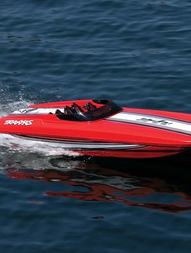 Traxxas 57046-4: Fully assembled, Ready-To-Race® Catamaran, TQi™ 2.4GHz radio system, Traxxas Stability Management,™ Velineon® 540XL Brushless Motor, VXL-6s Marine ESC,  and factory-applied graphics.